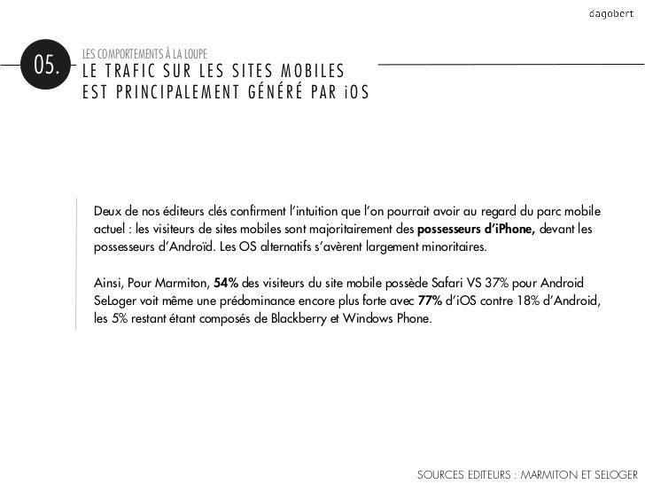 LES COMPORTEMENTS À LA LOUPE05.   LE TRAFIC SUR LES SITES MOBILES      EST PRINCIPALEMENT GÉNÉRÉ PAR iOS        Deux de no...
