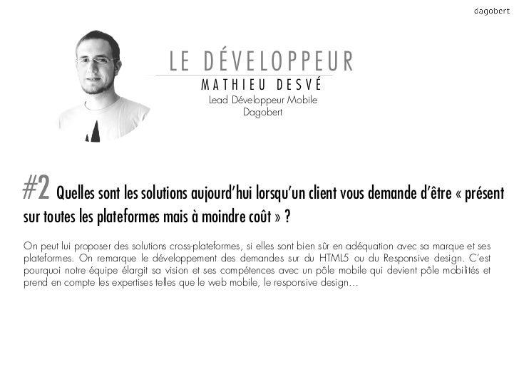 LE DÉVELOPPEUR                                          MATHIEU DESVÉ                                            Lead Déve...