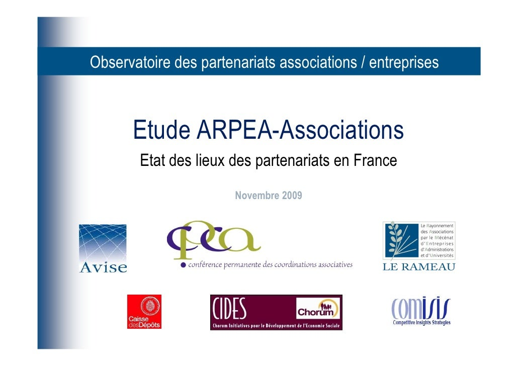 Observatoire des partenariats associations / entreprises          Etude ARPEA-Associations         Etat des lieux des part...