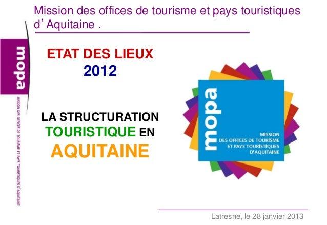 Mission des offices de tourisme et pays touristiquesd'Aquitaine .  ETAT DES LIEUX         2012 LA STRUCTURATION  TOURISTIQ...