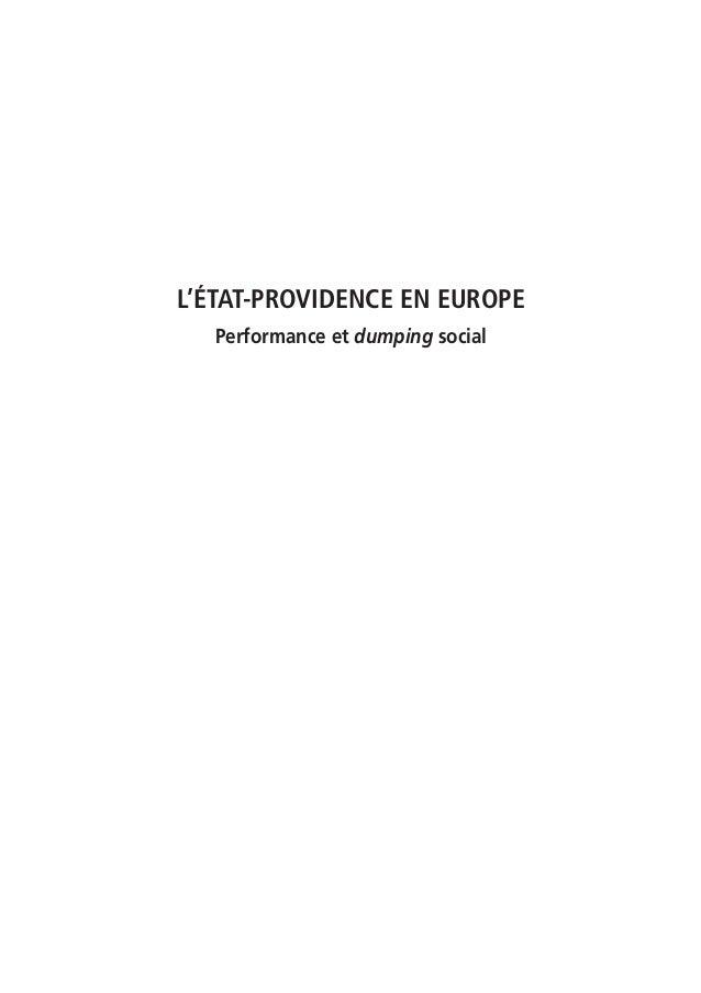 L'ÉTAT-PROVIDENCE EN EUROPE  Performance et dumping social