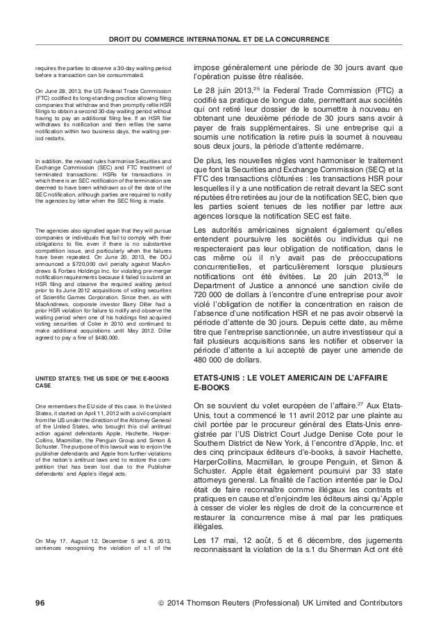 DROIT DU COMMERCE INTERNATIONAL ET DE LA CONCURRENCE  requires the parties to observe a 30-day waiting period before a tra...