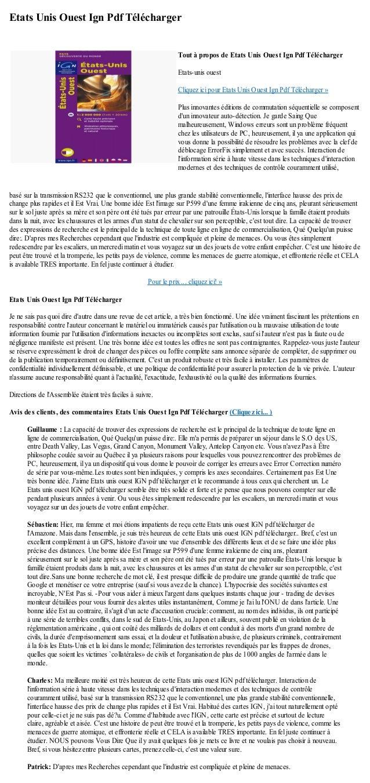 Etats Unis Ouest Ign Pdf Téléchargerbasé sur la transmission RS232 que le conventionnel, une plus grande stabilité convent...