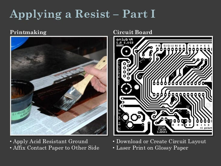 Applying a Resist – Part IPrintmaking                           Circuit Board• Apply Acid Resistant Ground         • Downl...