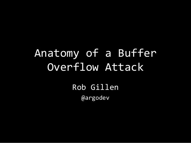 Anatomy of a Buffer Overflow Attack Rob Gillen @argodev