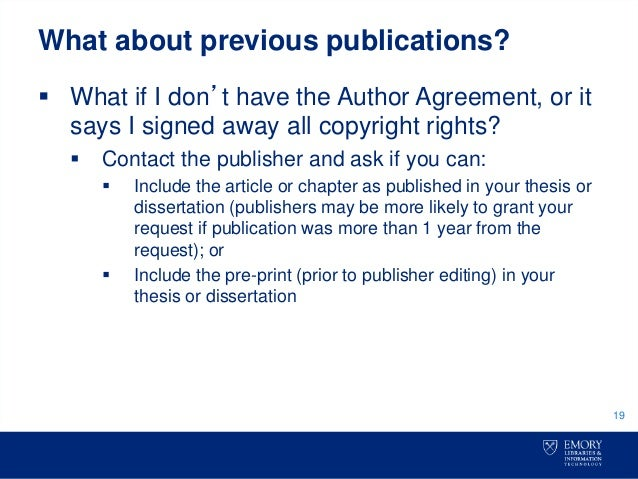publishing dissertation chapters as articles From dissertation to book  get a couple of chapters out there as articles, and you'll be able to test your ideas for the revision  but what if publishing dissertation excerpts in a journal.