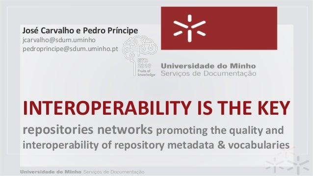 INTEROPERABILITY IS THE KEY repositories networks promoting the quality and interoperability of repository metadata & voca...