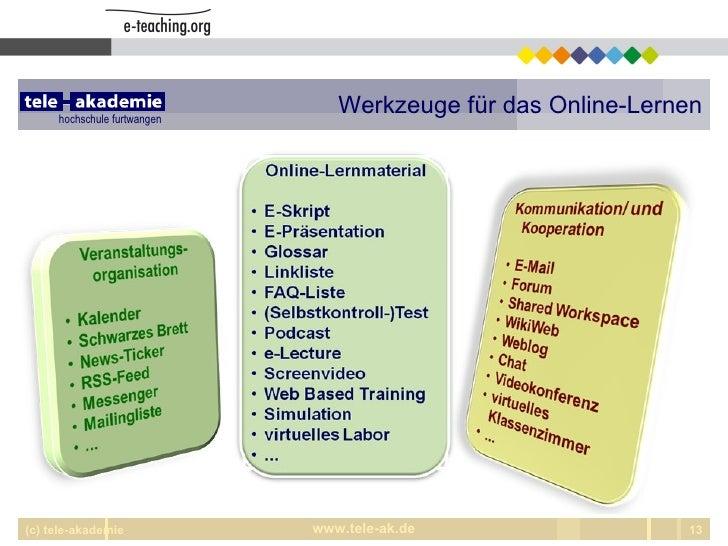 Werkzeuge für das Online-Lernen (c) tele-akademie