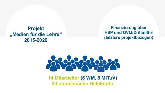"""14 Mitarbeiter (6 WM, 8 MiTuV) 23 studentische Hilfskräfte Projekt """"Medien für die Lehre"""" 2015-2020 Finanzierung über HSP ..."""