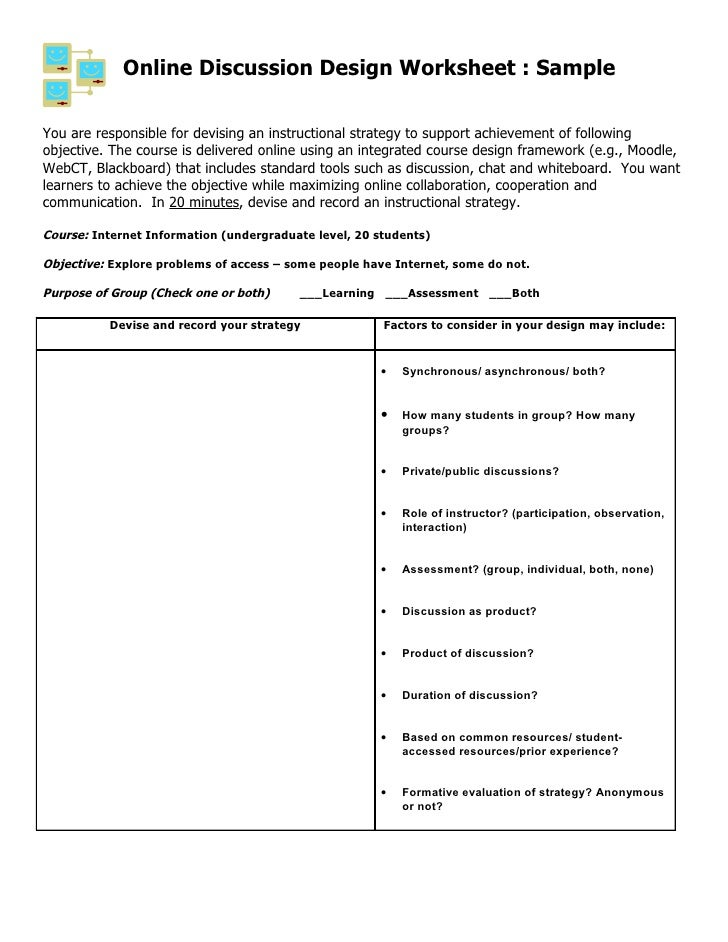 Online Discussion Design Worksheet : Sample  You are responsible for devising an instructional strategy to support achieve...