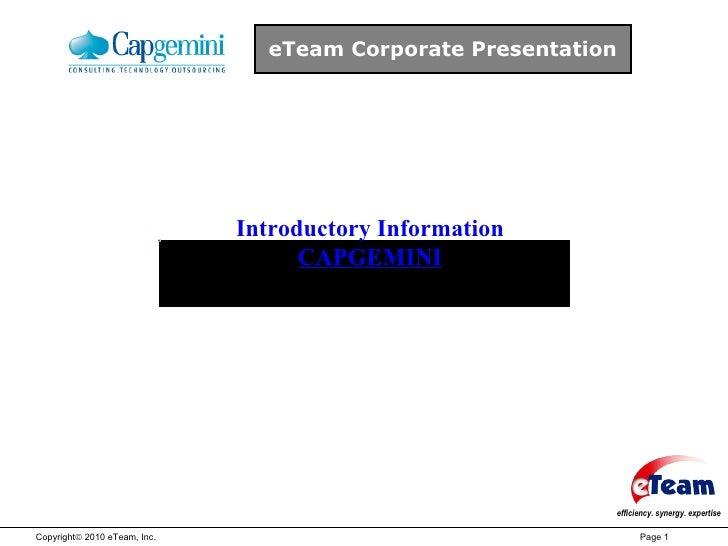 eTeam Corporate Presentation Introductory Information CAPGEMINI