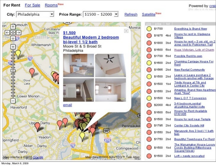 "housingmaps.com - the very first                         Google maps mashup                         •It was a ""hack."" Goog..."
