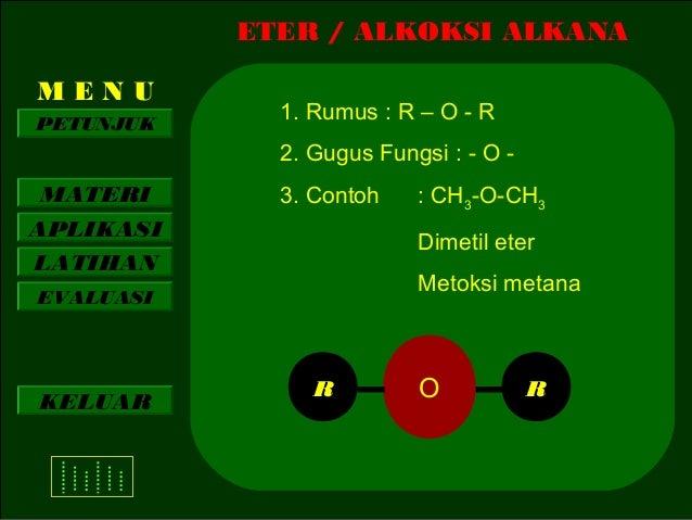 ETER / ALKOKSI ALKANA MENU PETUNJUK  1. Rumus : R – O - R 2. Gugus Fungsi : - O -  MATERI APLIKASI LATIHAN  3. Contoh  Dim...