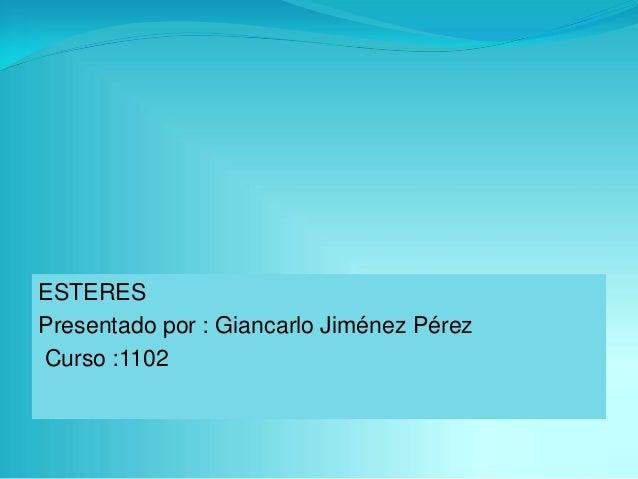 ESTERES Presentado por : Giancarlo Jiménez Pérez Curso :1102