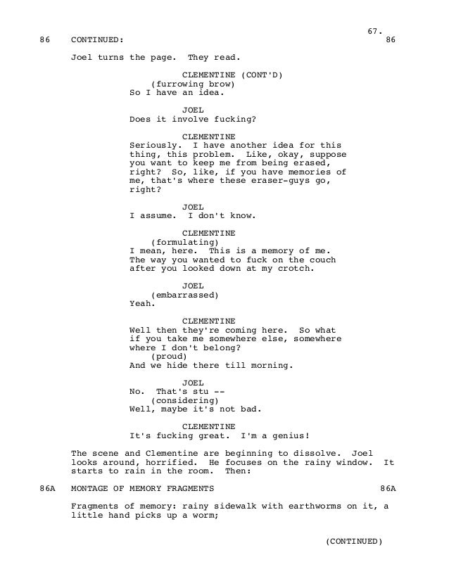 Eternal Sunshine of the Spotless Mind Movie Script