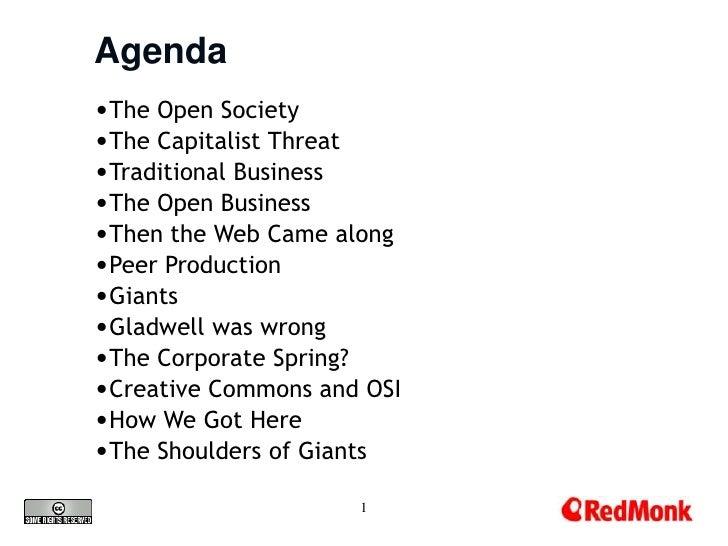 Agenda <br /><ul><li>The Open Society