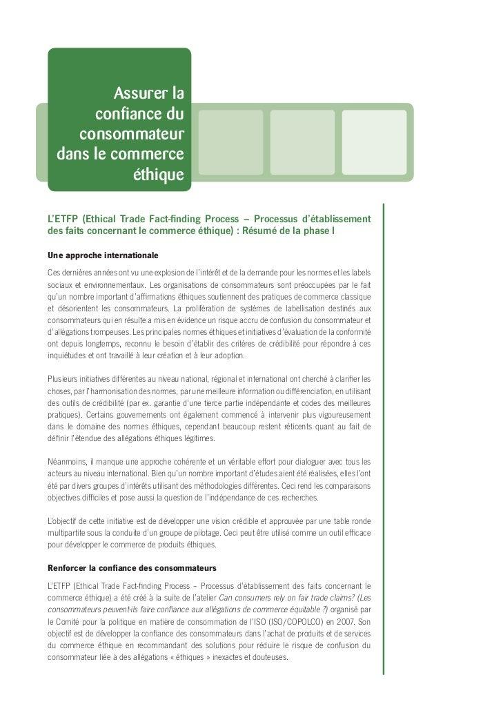 Assurer la       confiance du     consommateur  dans le commerce            éthiqueL'ETFP (Ethical Trade Fact-finding Proces...