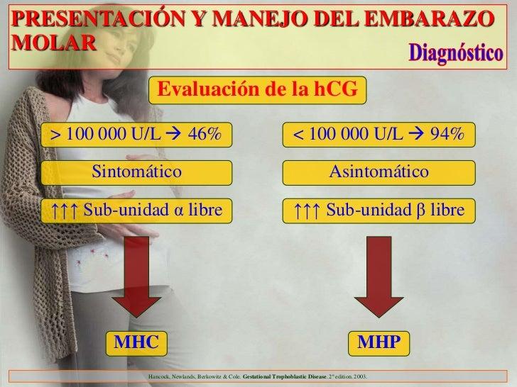PRESENTACIÓN Y MANEJO DEL EMBARAZOMOLAR                 Evaluación de la hCG  > 100 000 U/L  46%                         ...