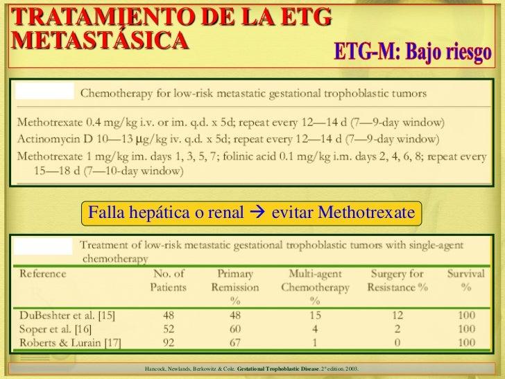 TRATAMIENTO DE LA ETGMETASTÁSICA     Falla hepática o renal  evitar Methotrexate            Hancock, Newlands, Berkowitz ...