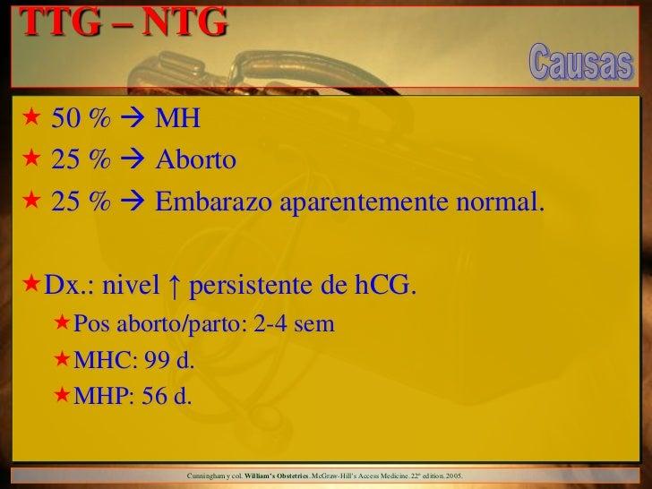 TTG – NTG 50 %  MH 25 %  Aborto 25 %  Embarazo aparentemente normal.Dx.: nivel ↑ persistente de hCG.  Pos aborto/p...