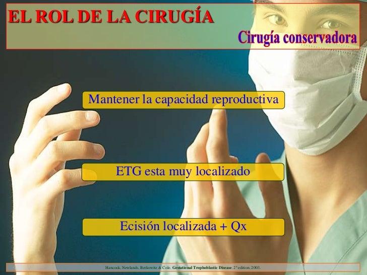 EL ROL DE LA CIRUGÍA       Mantener la capacidad reproductiva               ETG esta muy localizado                  Ecisi...