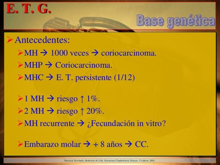 E. T. G.Antecedentes:  MH  1000 veces  coriocarcinoma.  MHP  Coriocarcinoma.  MHC  E. T. persistente (1/12)  1 MH...