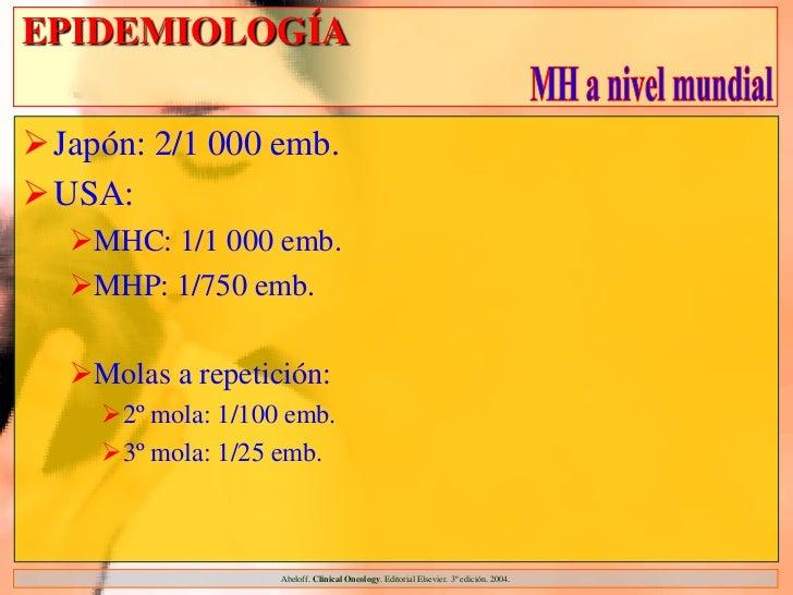 EPIDEMIOLOGÍAJapón: 2/1 000 emb.USA:  MHC: 1/1 000 emb.  MHP: 1/750 emb.  Molas a repetición:    2º mola: 1/100 emb....