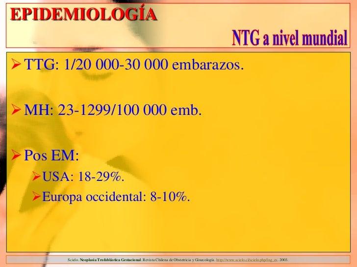 EPIDEMIOLOGÍATTG: 1/20 000-30 000 embarazos.MH: 23-1299/100 000 emb.Pos EM:  USA: 18-29%.  Europa occidental: 8-10%. ...