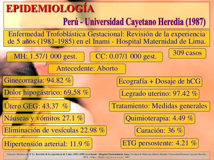 EPIDEMIOLOGÍA Enfermedad Trofoblástica Gestacional: Revisión de la experiencia de 5 años (1981-1985) en el Inami - Hospita...