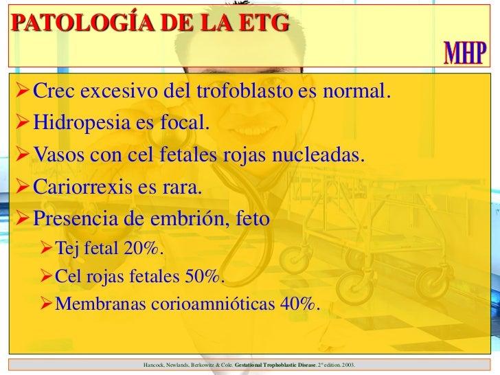 PATOLOGÍA DE LA ETGCrec excesivo del trofoblasto es normal.Hidropesia es focal.Vasos con cel fetales rojas nucleadas.C...