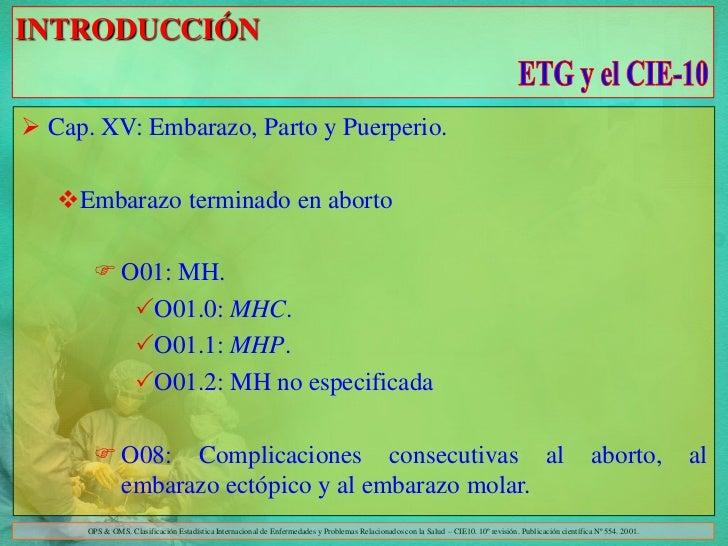 INTRODUCCIÓN Cap. XV: Embarazo, Parto y Puerperio.   Embarazo terminado en aborto        O01: MH.          O01.0: MHC....