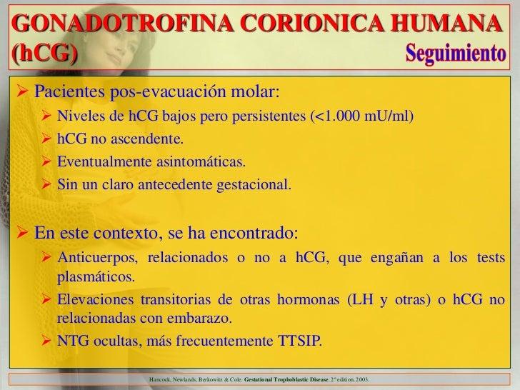GONADOTROFINA CORIONICA HUMANA(hCG) Pacientes pos-evacuación molar:    Niveles de hCG bajos pero persistentes (<1.000 mU...