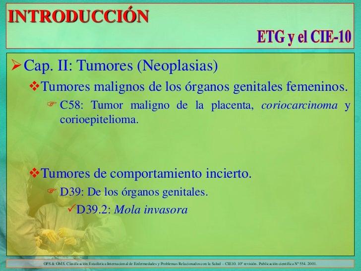 INTRODUCCIÓNCap. II: Tumores (Neoplasias)  Tumores malignos de los órganos genitales femeninos.      C58: Tumor maligno...
