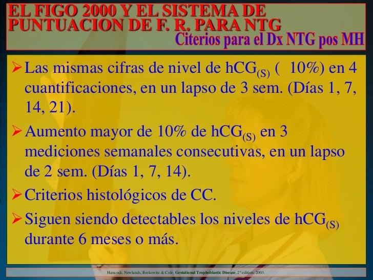 EL FIGO 2000 Y EL SISTEMA DEPUNTUACION DE F. R. PARA NTGLas mismas cifras de nivel de hCG(S) ( 10%) en 4 cuantificaciones...