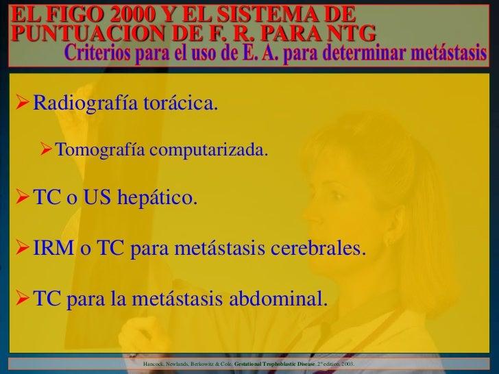 EL FIGO 2000 Y EL SISTEMA DEPUNTUACION DE F. R. PARA NTGRadiografía torácica.  Tomografía computarizada.TC o US hepátic...