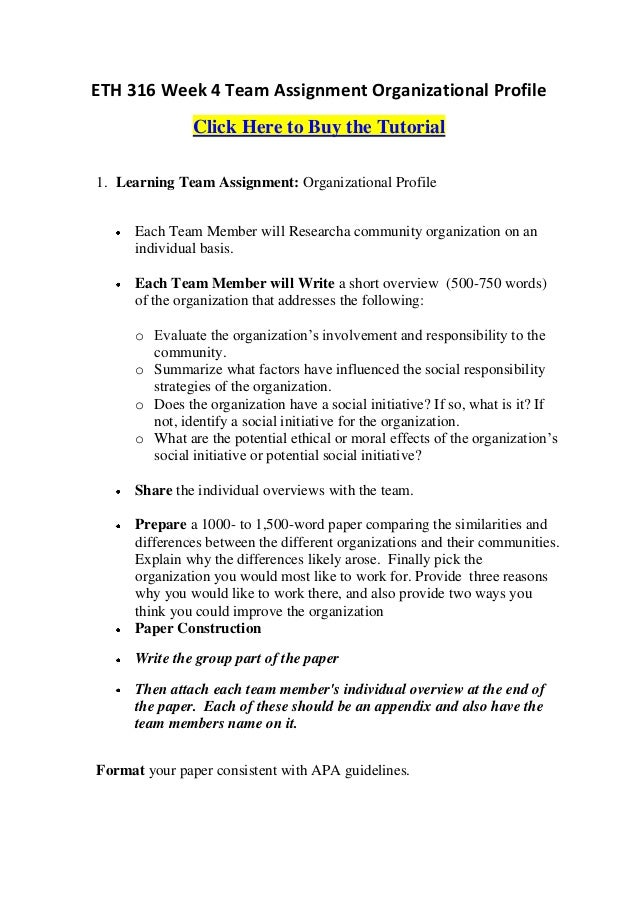 how to write an organisation profile