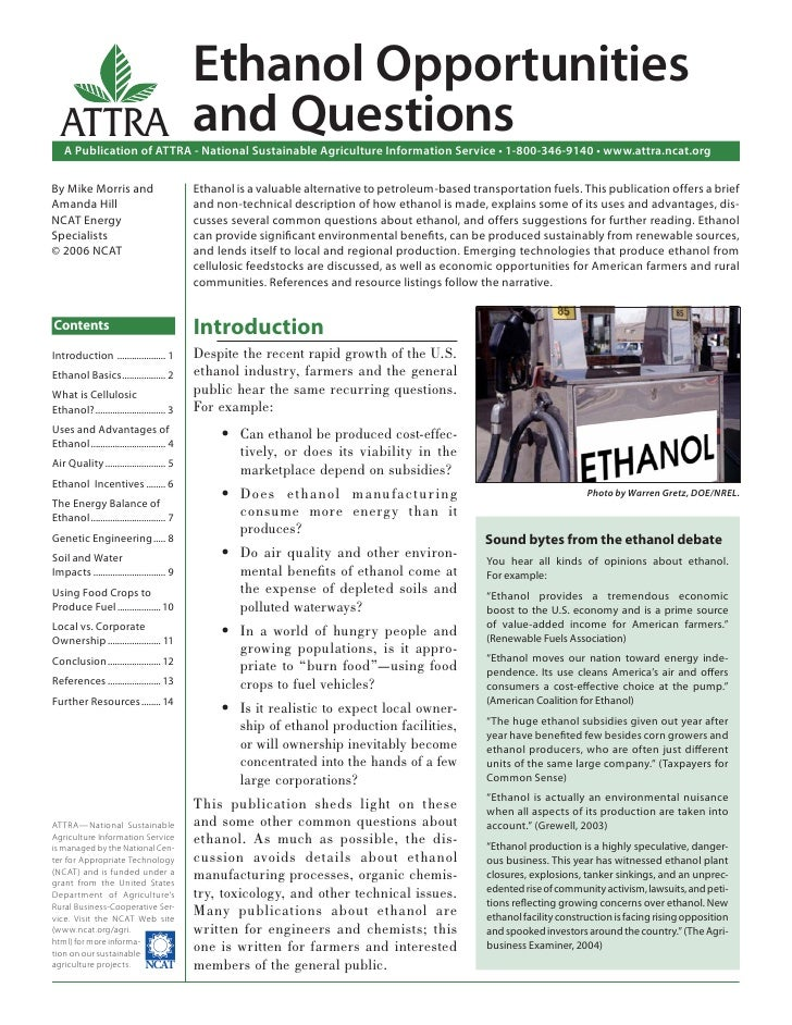 Ethanol Opportunities  ATTRA                                     and Questions    A Publication of ATTRA - National Sustai...