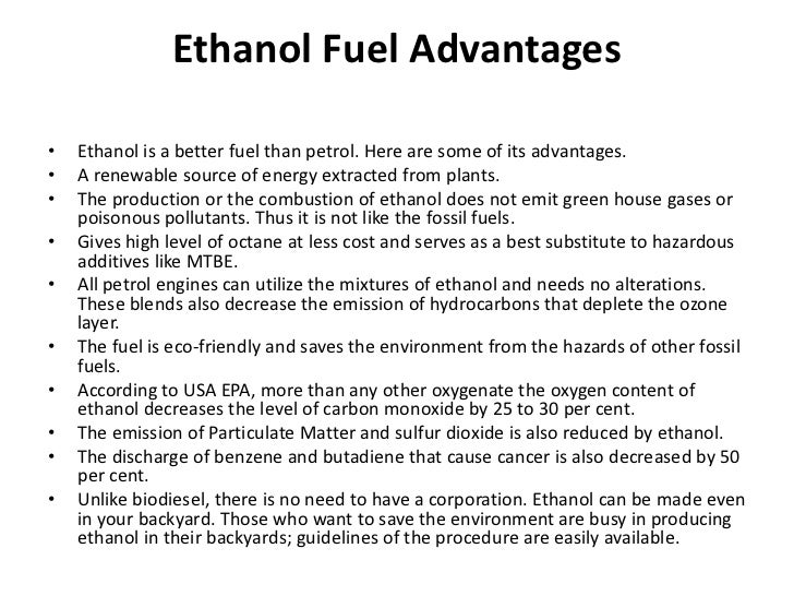 advantages and disadvantages of ethanol as fuel //wwwiitutorcom/courses/hsc-chemistry/ the advantages of ethanol c advantages and disadvantages of ethanol as fuel (hsc chemistry) - duration: 9:46 letslearnscience 12,442 views 9:46 6 tips on prioritizing - duration: 4:15.