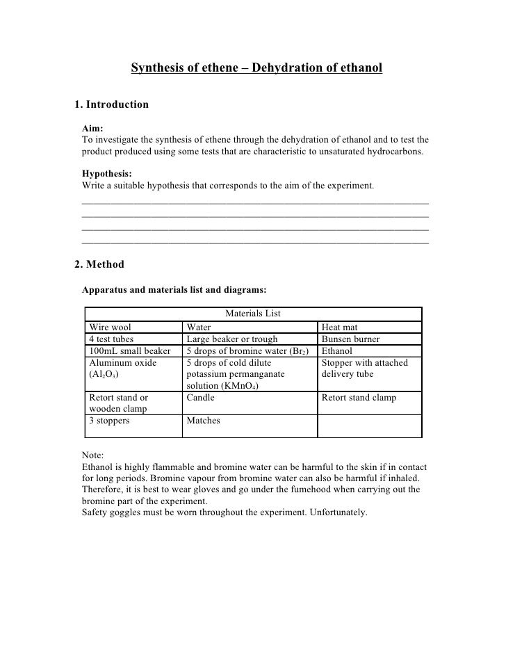 Synthesis of ethene – Dehydration of ethanol  1. Introduction   Aim:  To investigate the synthesis of ethene through the d...