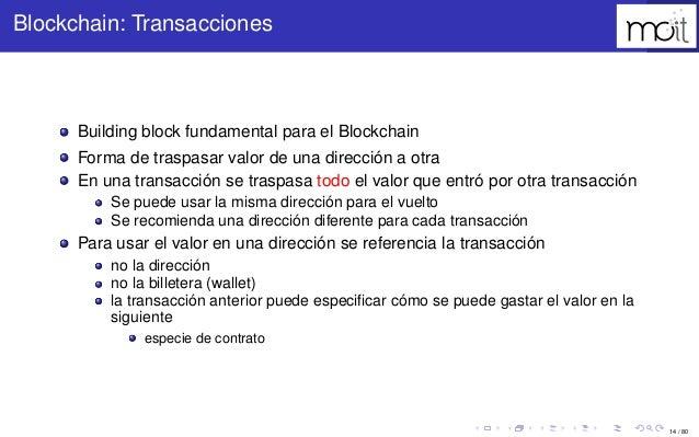 14 / 80 Blockchain: Transacciones Building block fundamental para el Blockchain Forma de traspasar valor de una dirección ...
