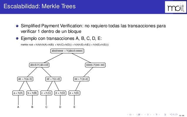 19 / 80 Escalabilidad: Merkle Trees Simplified Payment Verification: no requiero todas las transacciones para verificar 1 den...