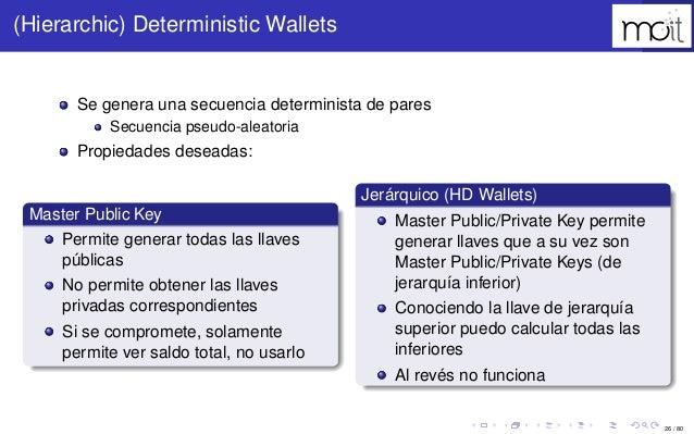 26 / 80 (Hierarchic) Deterministic Wallets Se genera una secuencia determinista de pares Secuencia pseudo-aleatoria Propie...