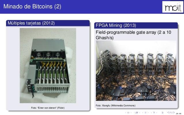 """28 / 80 Minado de Bitcoins (2) Múltiples tarjetas (2012) Foto: """"Einer von denen"""" (Flickr) FPGA Mining (2013) Field-program..."""
