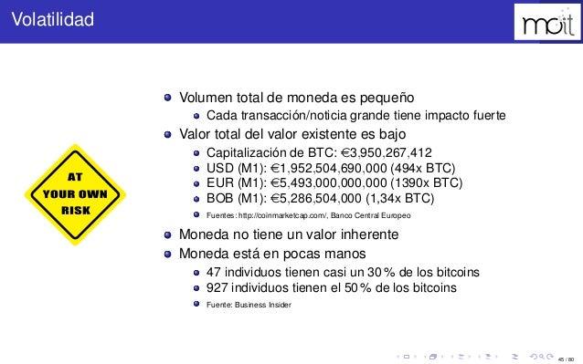 45 / 80 Volatilidad Volumen total de moneda es pequeño Cada transacción/noticia grande tiene impacto fuerte Valor total de...