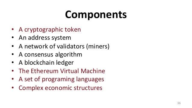 Components • Acryptographictoken • Anaddresssystem • Anetworkofvalidators(miners) • Aconsensusalgorithm...