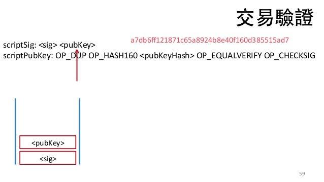 59 scriptSig:<sig><pubKey> scriptPubKey:OP_DUPOP_HASH160<pubKeyHash>OP_EQUALVERIFYOP_CHECKSIG <sig> a7db6ff12187...