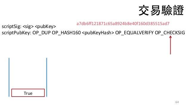 64 scriptSig:<sig><pubKey> scriptPubKey:OP_DUPOP_HASH160<pubKeyHash>OP_EQUALVERIFYOP_CHECKSIG True a7db6ff121871...