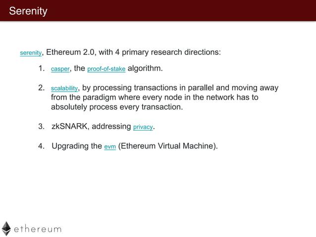 Ethereum Scalability Sharding  Raiden Network (lighting network)   Plasma