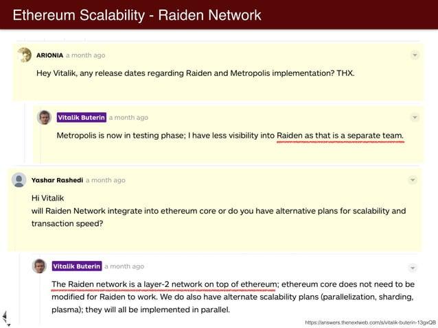 Ethereum Scalability - Plasma Plasma: Scalable Autonomous Smart Contracts Joseph Poon and Vitalik Buterin https://medium.c...