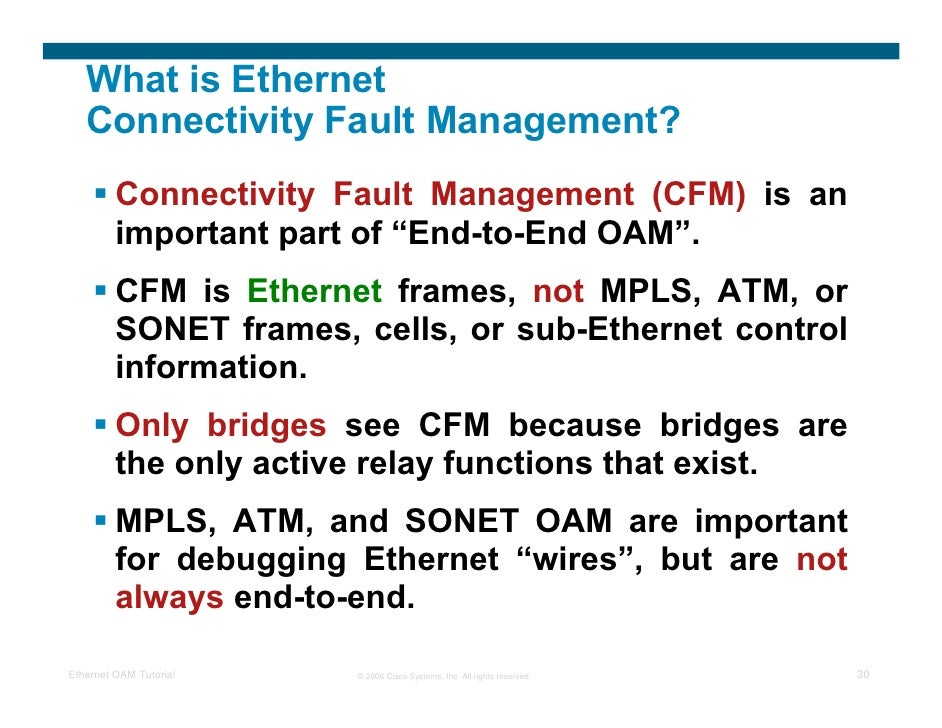What Is Cfm >> Ethernet Oam Tutorial Srinath Beldona
